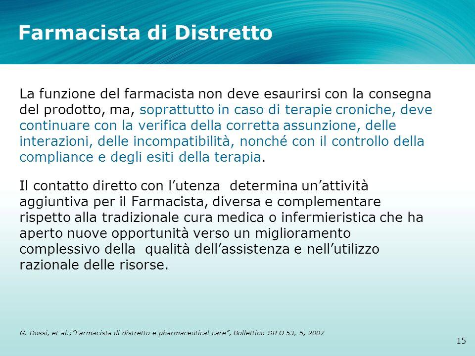 Farmacista di Distretto 15 La funzione del farmacista non deve esaurirsi con la consegna del prodotto, ma, soprattutto in caso di terapie croniche, de