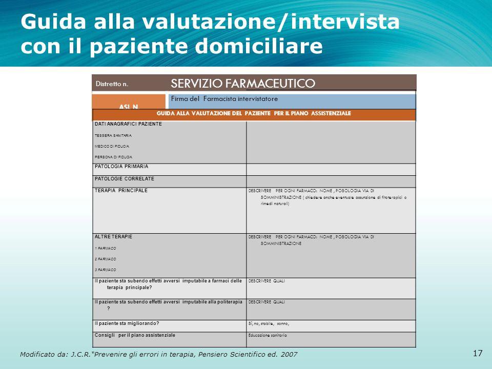 Guida alla valutazione/intervista con il paziente domiciliare 17 Modificato da: J.C.R.Prevenire gli errori in terapia, Pensiero Scientifico ed. 2007 D