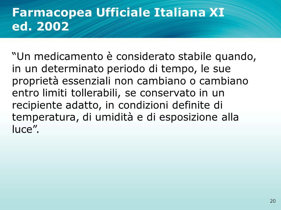 Farmacopea Ufficiale Italiana XI ed. 2002 20 Un medicamento è considerato stabile quando, in un determinato periodo di tempo, le sue proprietà essenzi