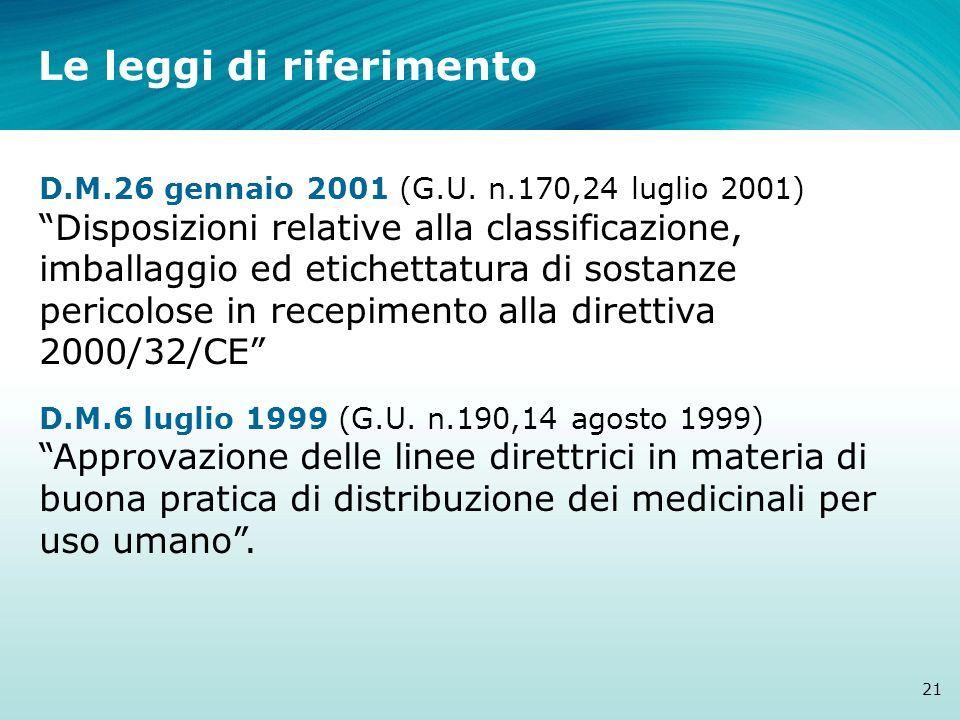 Le leggi di riferimento 21 D.M.26 gennaio 2001 (G.U. n.170,24 luglio 2001) Disposizioni relative alla classificazione, imballaggio ed etichettatura di