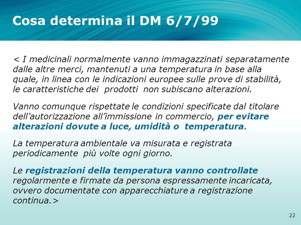 Cosa determina il DM 6/7/99 22 < I medicinali normalmente vanno immagazzinati separatamente dalle altre merci, mantenuti a una temperatura in base all