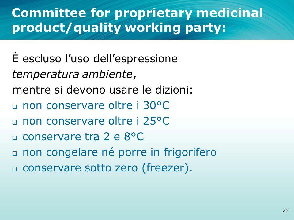 Committee for proprietary medicinal product/quality working party: 25 È escluso luso dellespressione temperatura ambiente, mentre si devono usare le d