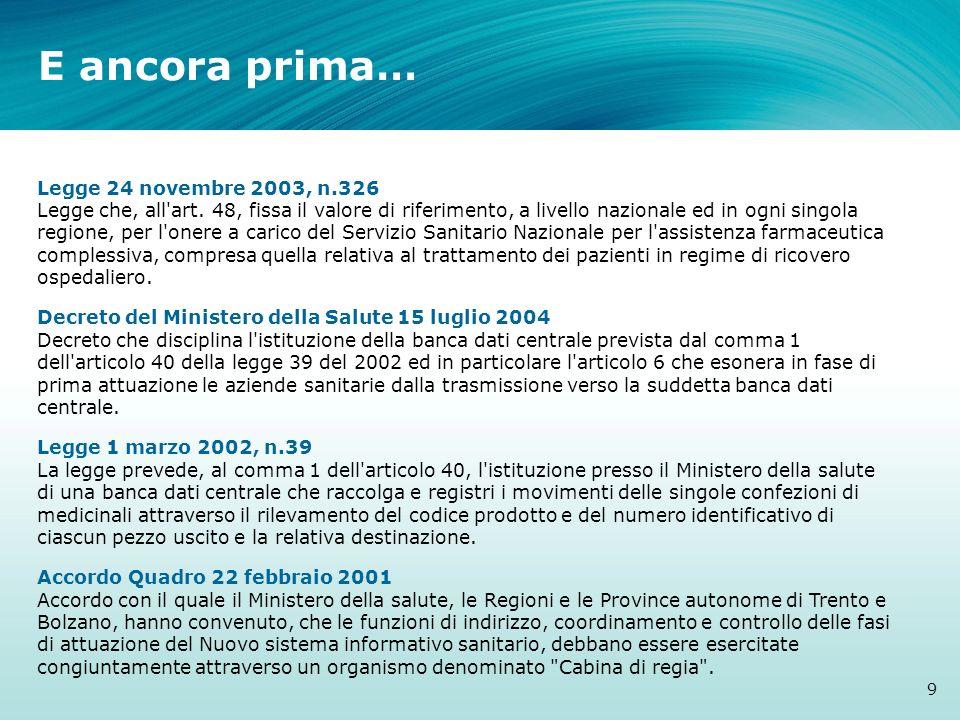 E ancora prima… 9 Legge 24 novembre 2003, n.326 Legge che, all'art. 48, fissa il valore di riferimento, a livello nazionale ed in ogni singola regione