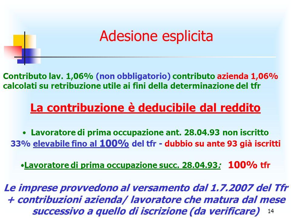 14 Adesione esplicita Contributo lav.