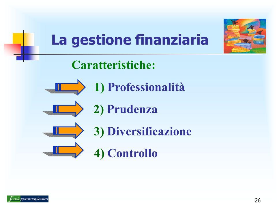 26 La gestione finanziaria Caratteristiche: 1) Professionalità 2) Prudenza 3) Diversificazione 4) Controllo