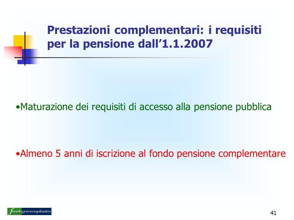 41 Prestazioni complementari: i requisiti per la pensione dall1.1.2007 Maturazione dei requisiti di accesso alla pensione pubblica Almeno 5 anni di iscrizione al fondo pensione complementare