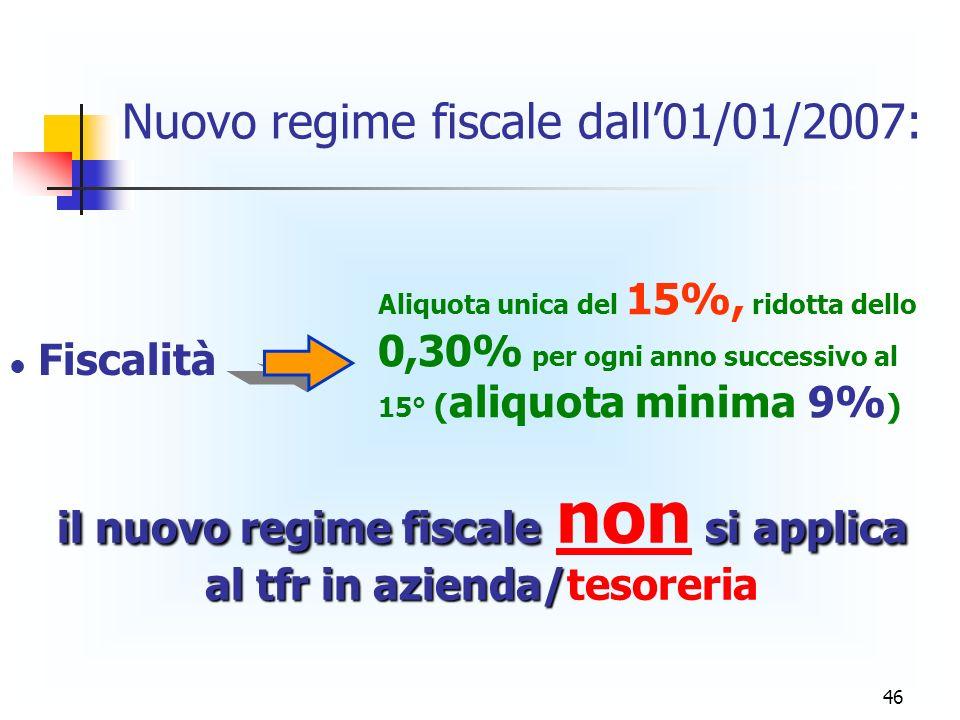 46 Nuovo regime fiscale dall01/01/2007: Aliquota unica del 15%, ridotta dello 0,30% per ogni anno successivo al 15° ( aliquota minima 9% ) Fiscalità il nuovo regime fiscale si applica al tfr in azienda/ il nuovo regime fiscale non si applica al tfr in azienda/tesoreria