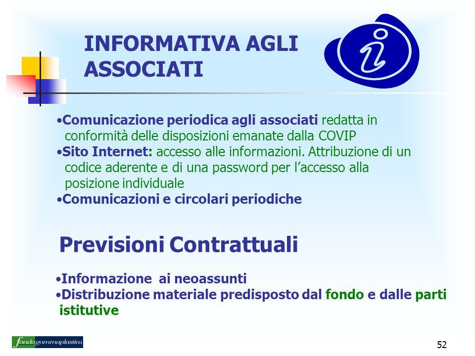 52 INFORMATIVA AGLI ASSOCIATI Comunicazione periodica agli associati redatta in conformità delle disposizioni emanate dalla COVIP Sito Internet: accesso alle informazioni.