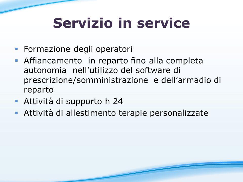Servizio in service Formazione degli operatori Affiancamento in reparto fino alla completa autonomia nellutilizzo del software di prescrizione/sommini