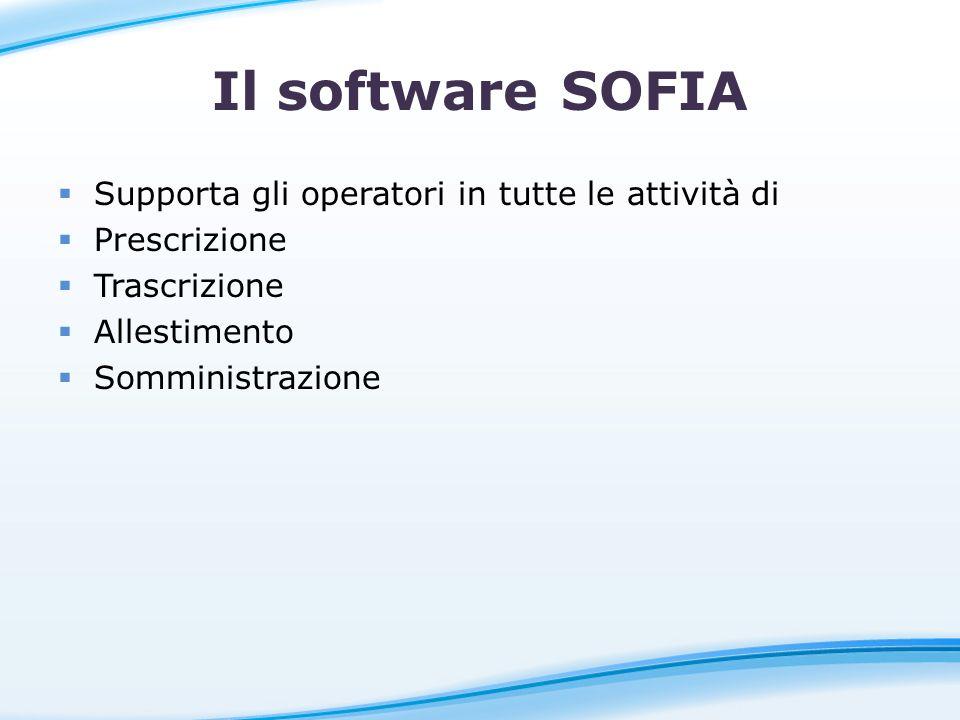 Il software SOFIA Supporta gli operatori in tutte le attività di Prescrizione Trascrizione Allestimento Somministrazione