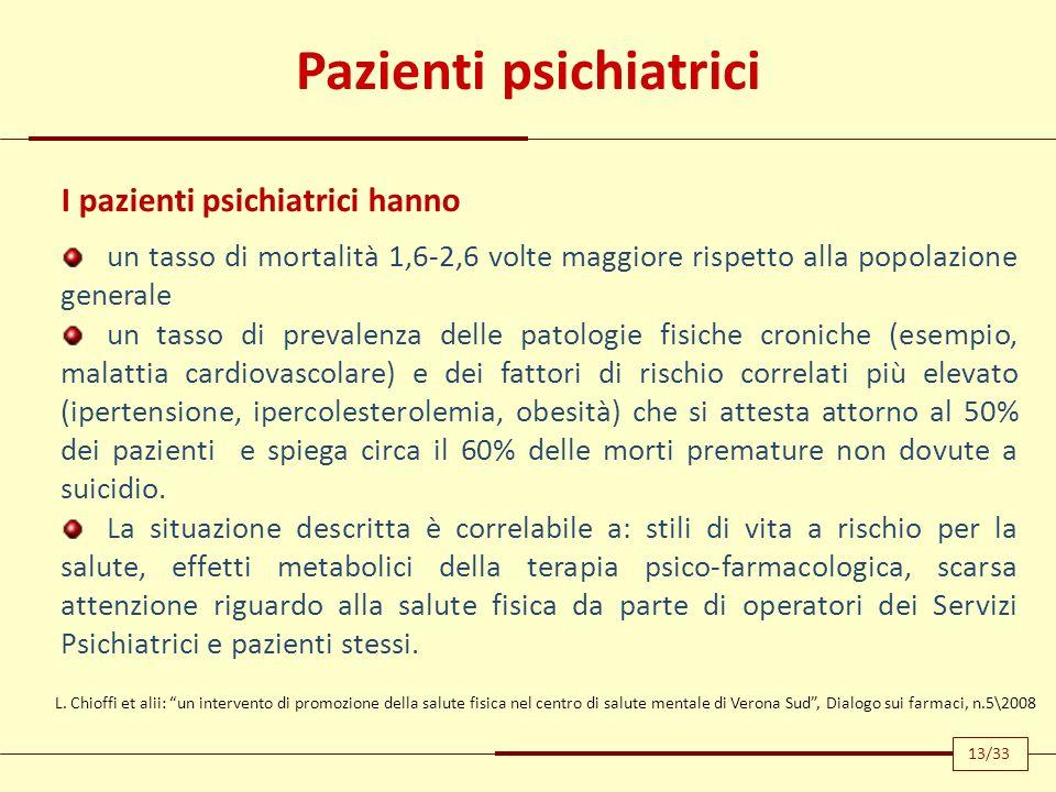 Pazienti psichiatrici I pazienti psichiatrici hanno un tasso di mortalità 1,6-2,6 volte maggiore rispetto alla popolazione generale un tasso di preval