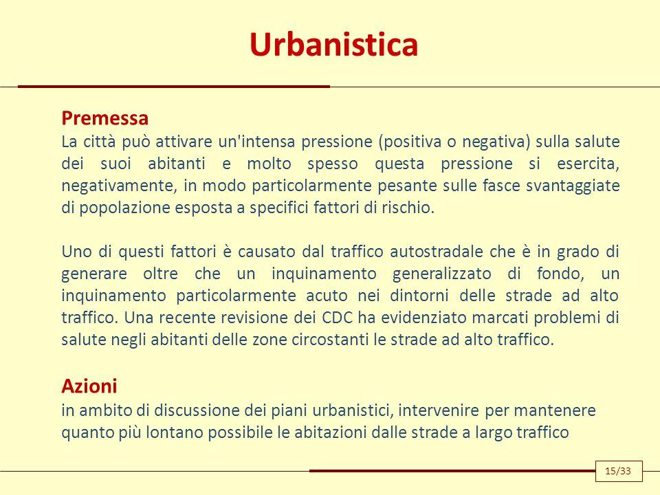 Urbanistica Premessa La città può attivare un'intensa pressione (positiva o negativa) sulla salute dei suoi abitanti e molto spesso questa pressione s