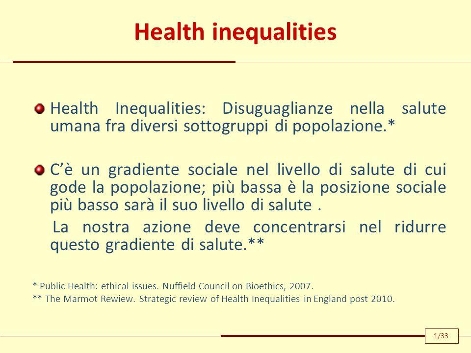 Health inequalities Health Inequalities: Disuguaglianze nella salute umana fra diversi sottogruppi di popolazione.* Cè un gradiente sociale nel livell