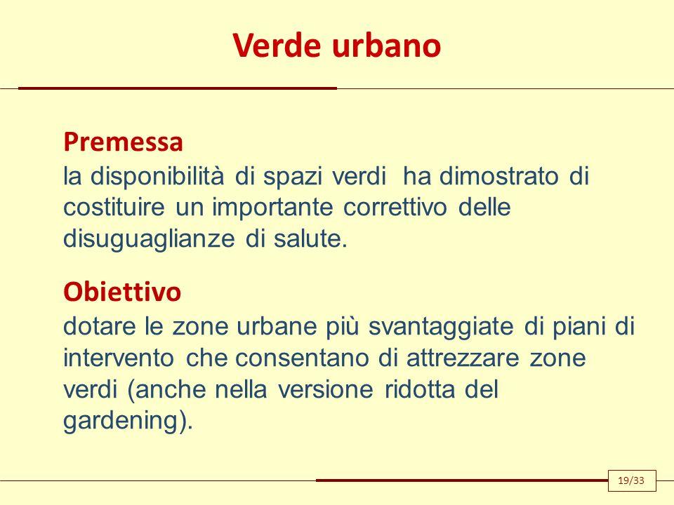 Verde urbano Premessa la disponibilità di spazi verdi ha dimostrato di costituire un importante correttivo delle disuguaglianze di salute. Obiettivo d