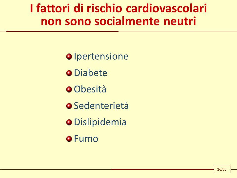 I fattori di rischio cardiovascolari non sono socialmente neutri Ipertensione Diabete Obesità Sedenterietà Dislipidemia Fumo 26/33