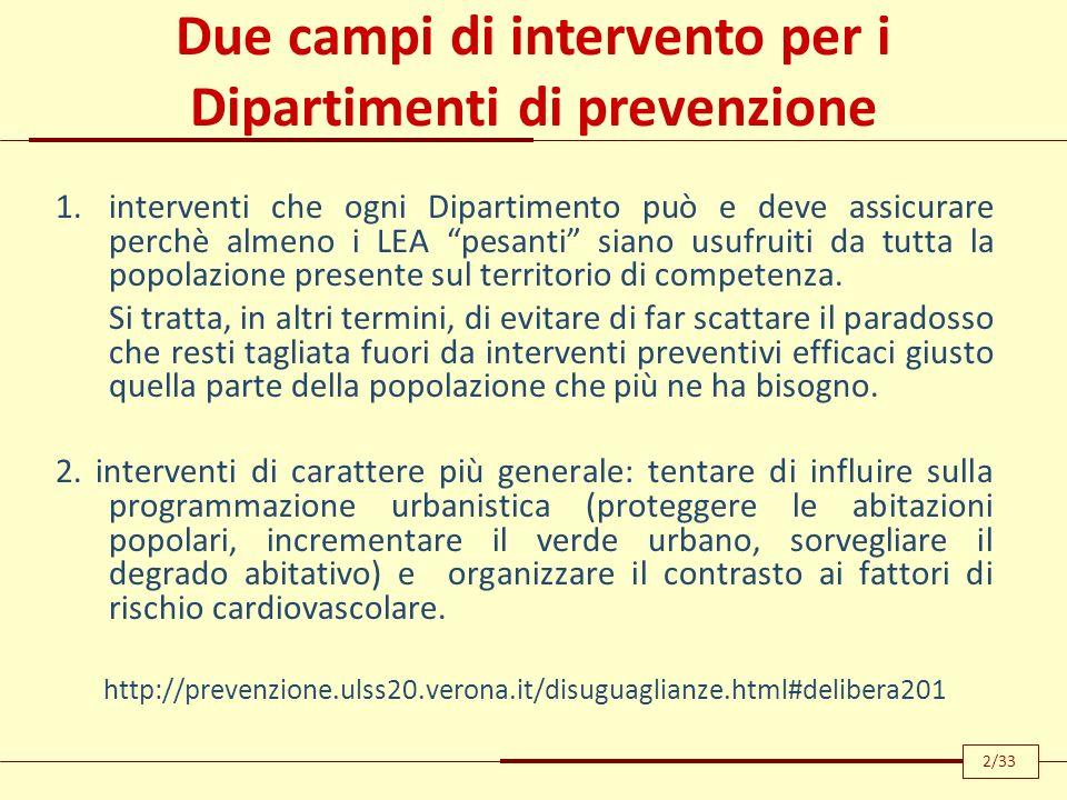 Due campi di intervento per i Dipartimenti di prevenzione 1.interventi che ogni Dipartimento può e deve assicurare perchè almeno i LEA pesanti siano u