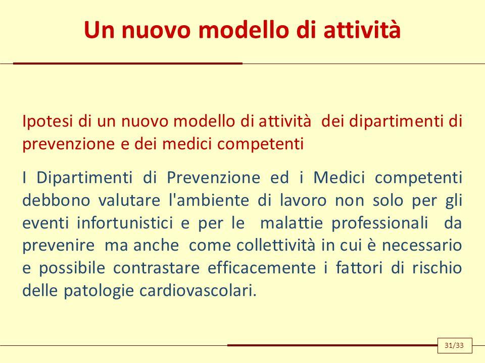 Un nuovo modello di attività Ipotesi di un nuovo modello di attività dei dipartimenti di prevenzione e dei medici competenti I Dipartimenti di Prevenz