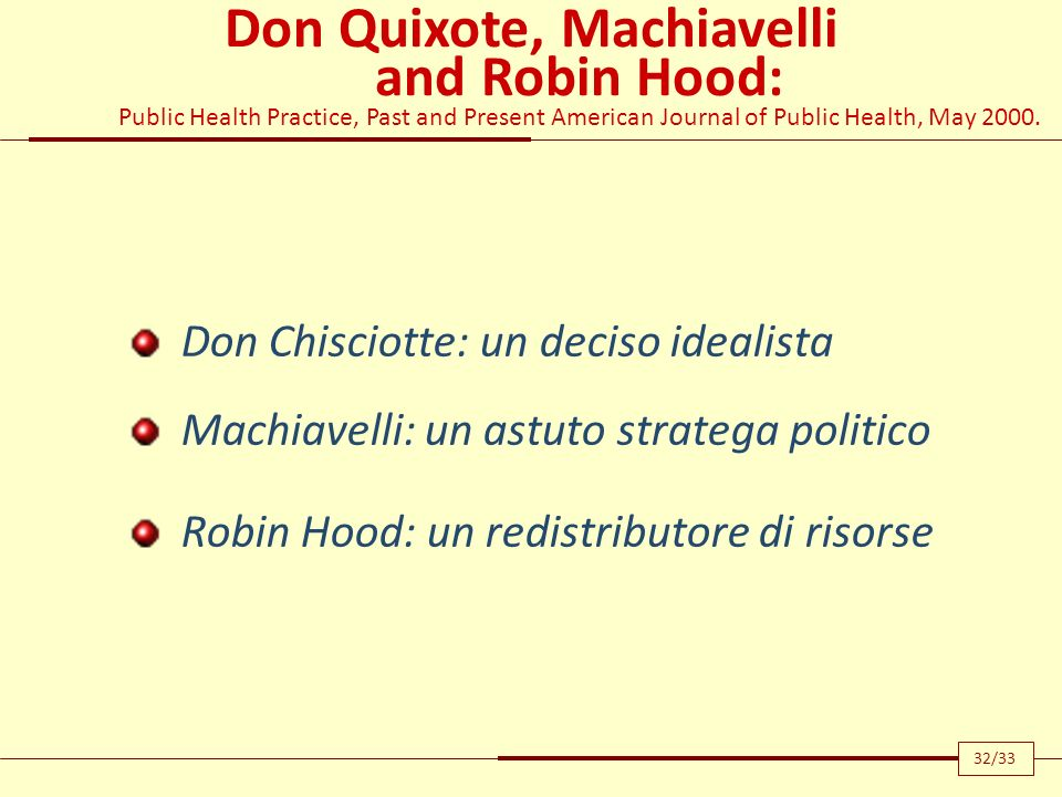 Don Quixote, Machiavelli and Robin Hood: Public Health Practice, Past and Present American Journal of Public Health, May 2000. Don Chisciotte: un deci