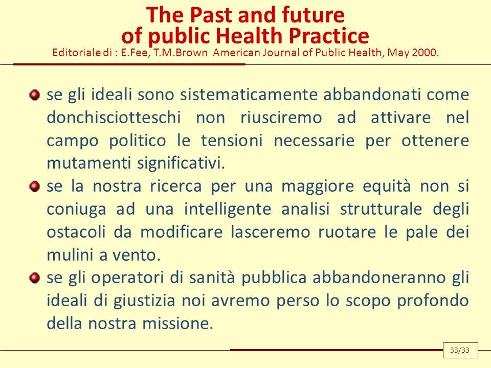 The Past and future of public Health Practice Editoriale di : E.Fee, T.M.Brown American Journal of Public Health, May 2000. se gli ideali sono sistema