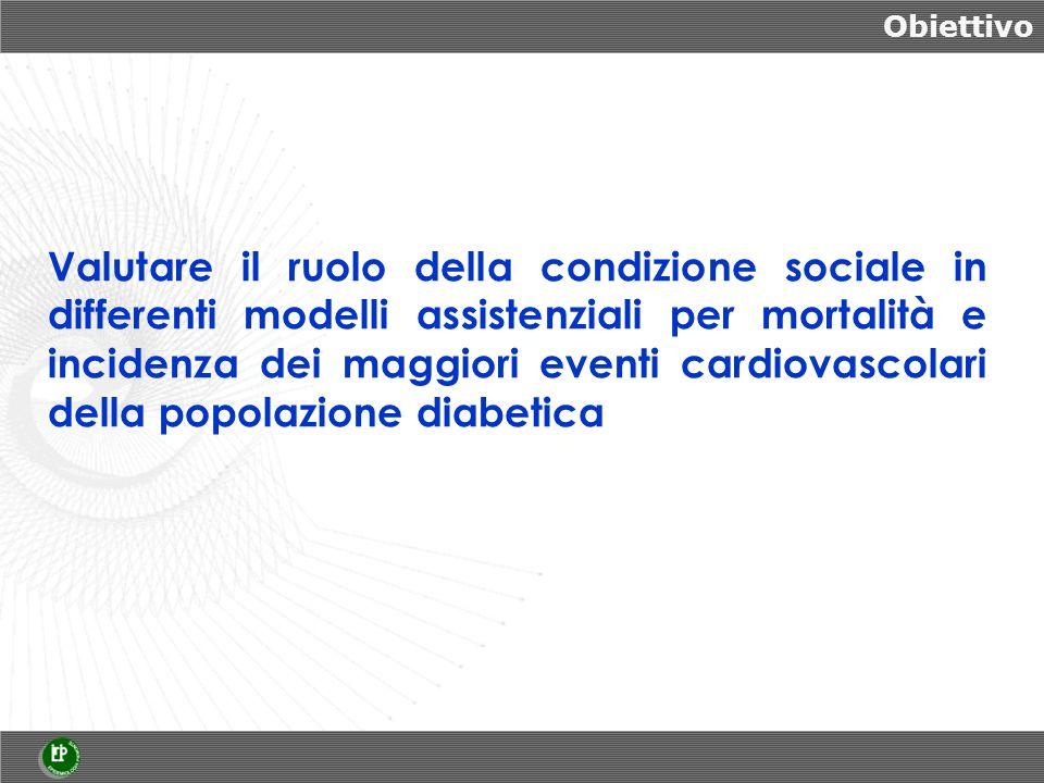 Obiettivo Valutare il ruolo della condizione sociale in differenti modelli assistenziali per mortalità e incidenza dei maggiori eventi cardiovascolari della popolazione diabetica