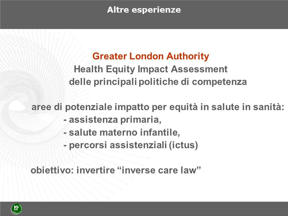 Altre esperienze Greater London Authority Health Equity Impact Assessment delle principali politiche di competenza aree di potenziale impatto per equità in salute in sanità: - assistenza primaria, - salute materno infantile, - percorsi assistenziali (ictus) obiettivo: invertire inverse care law