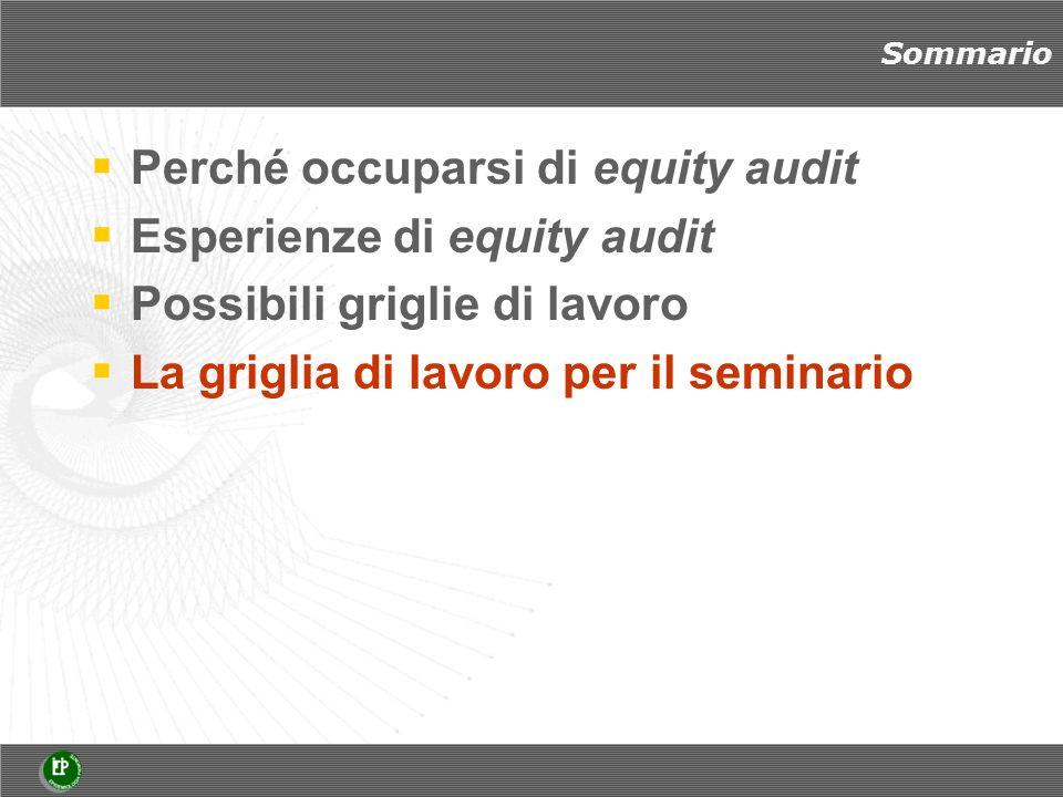 Sommario Perché occuparsi di equity audit Esperienze di equity audit Possibili griglie di lavoro La griglia di lavoro per il seminario