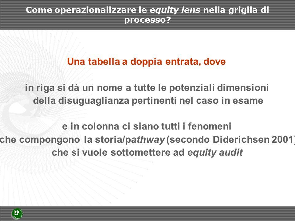 Come operazionalizzare le equity lens nella griglia di processo.