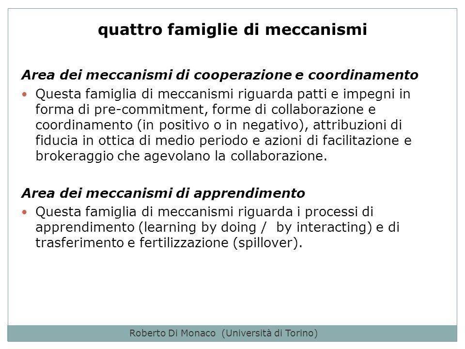 Roberto Di Monaco (Università di Torino) Area dei meccanismi di cooperazione e coordinamento Questa famiglia di meccanismi riguarda patti e impegni in forma di pre-commitment, forme di collaborazione e coordinamento (in positivo o in negativo), attribuzioni di fiducia in ottica di medio periodo e azioni di facilitazione e brokeraggio che agevolano la collaborazione.