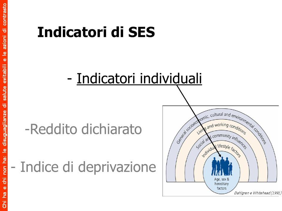 Chi ha e chi non ha: le disuguaglianze di salute evitabili e le azioni di contrasto - Indicatori individuali -Reddito dichiarato - Indice di deprivazi
