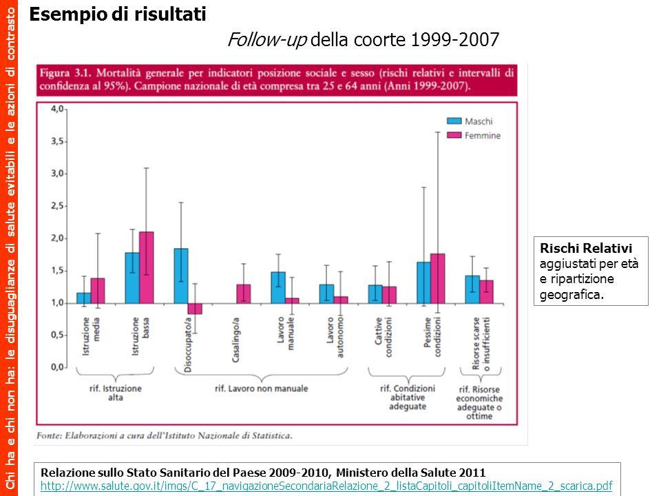 Chi ha e chi non ha: le disuguaglianze di salute evitabili e le azioni di contrasto Follow-up della coorte 1999-2007 Relazione sullo Stato Sanitario d