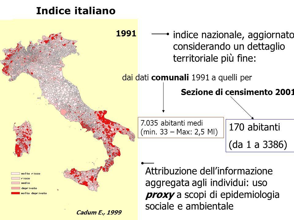 Chi ha e chi non ha: le disuguaglianze di salute evitabili e le azioni di contrasto Indice italiano Cadum E., 1999 1991 indice nazionale, aggiornato c