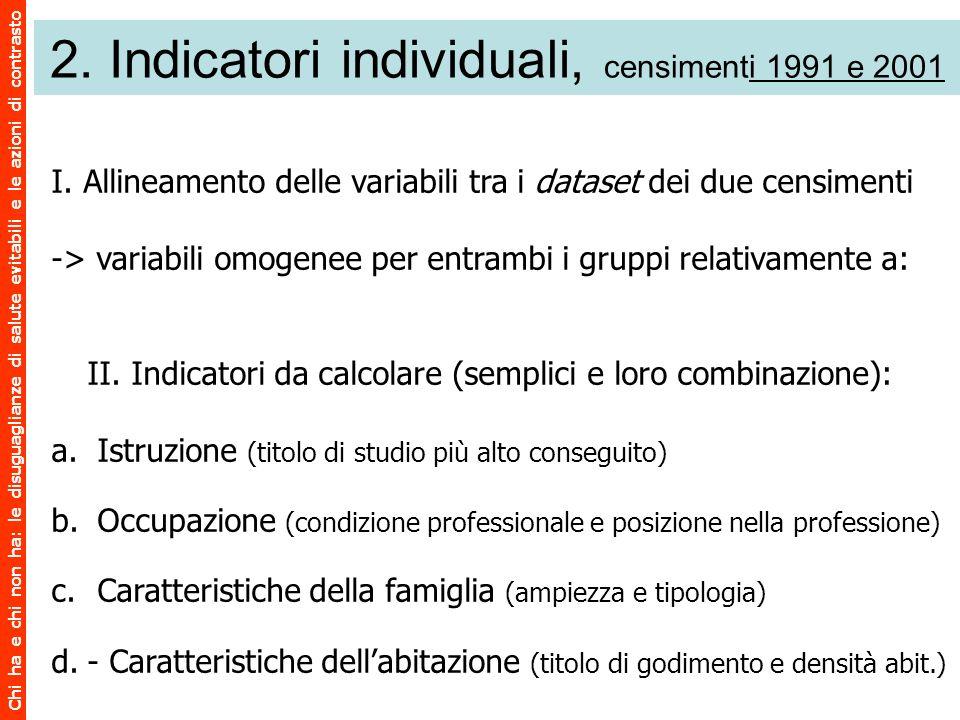 Chi ha e chi non ha: le disuguaglianze di salute evitabili e le azioni di contrasto 2. Indicatori individuali, censimenti 1991 e 2001 I. Allineamento