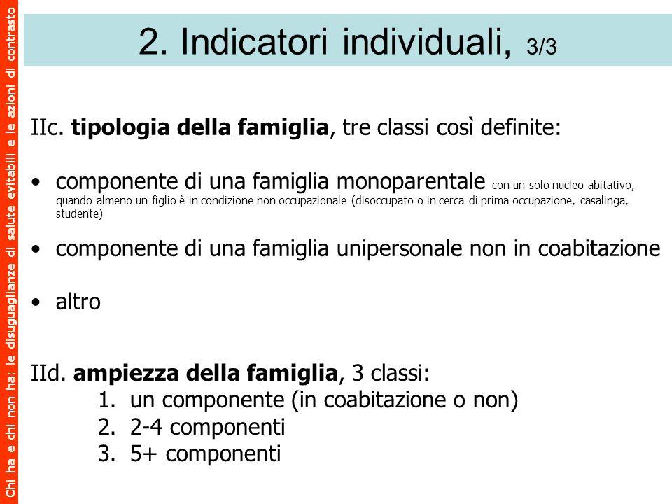 Chi ha e chi non ha: le disuguaglianze di salute evitabili e le azioni di contrasto 2. Indicatori individuali, 3/3 IIc. tipologia della famiglia, tre