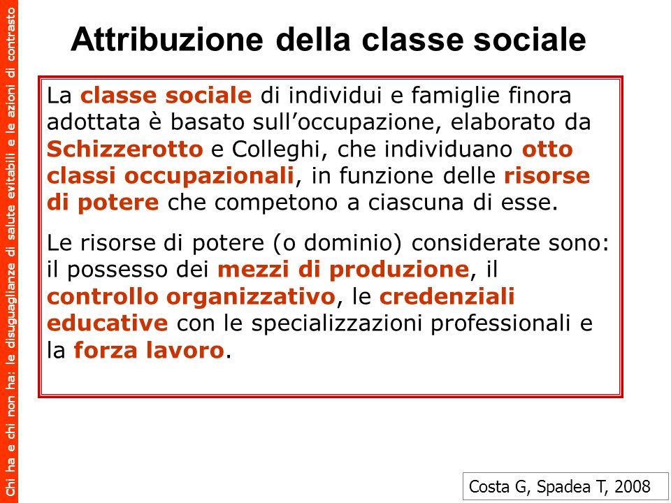 Chi ha e chi non ha: le disuguaglianze di salute evitabili e le azioni di contrasto Attribuzione della classe sociale La classe sociale di individui e