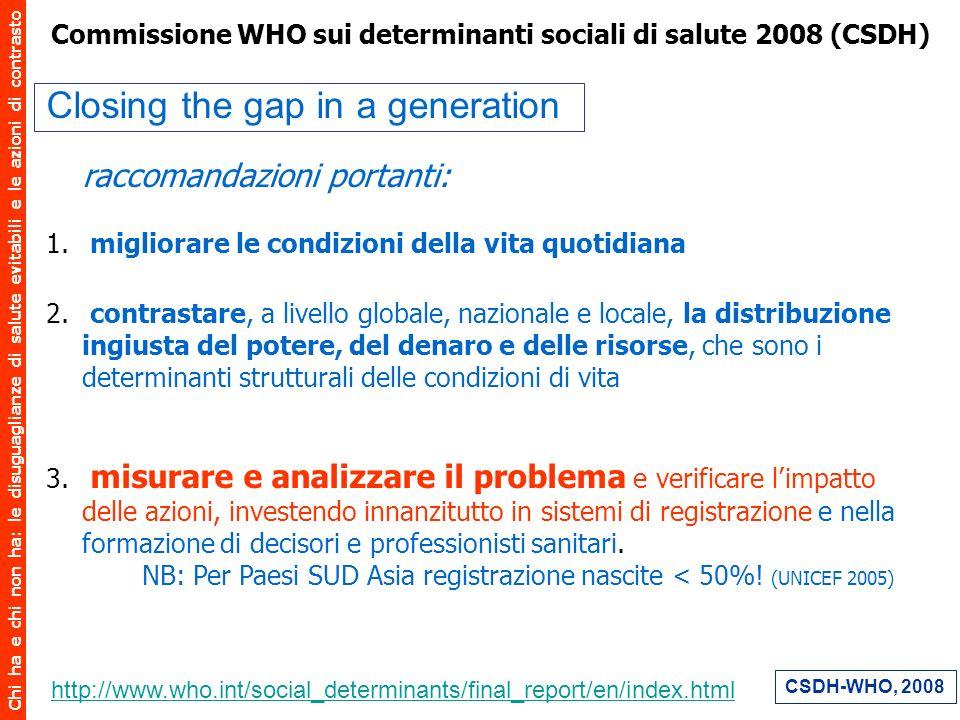 Chi ha e chi non ha: le disuguaglianze di salute evitabili e le azioni di contrasto Commissione WHO sui determinanti sociali di salute 2008 (CSDH) Clo