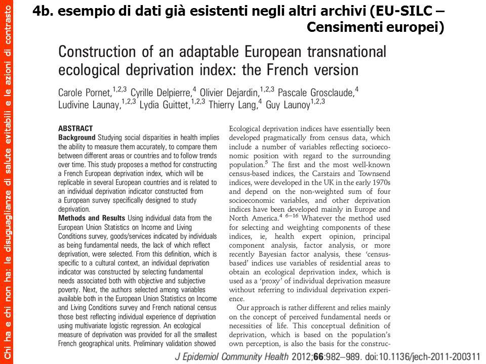 Chi ha e chi non ha: le disuguaglianze di salute evitabili e le azioni di contrasto 4b. esempio di dati già esistenti negli altri archivi (EU-SILC – C