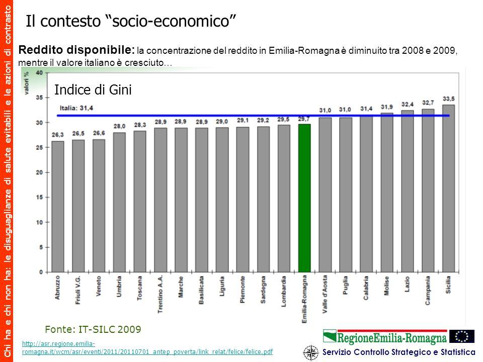 Chi ha e chi non ha: le disuguaglianze di salute evitabili e le azioni di contrasto Il contesto socio-economico Reddito disponibile: la concentrazione