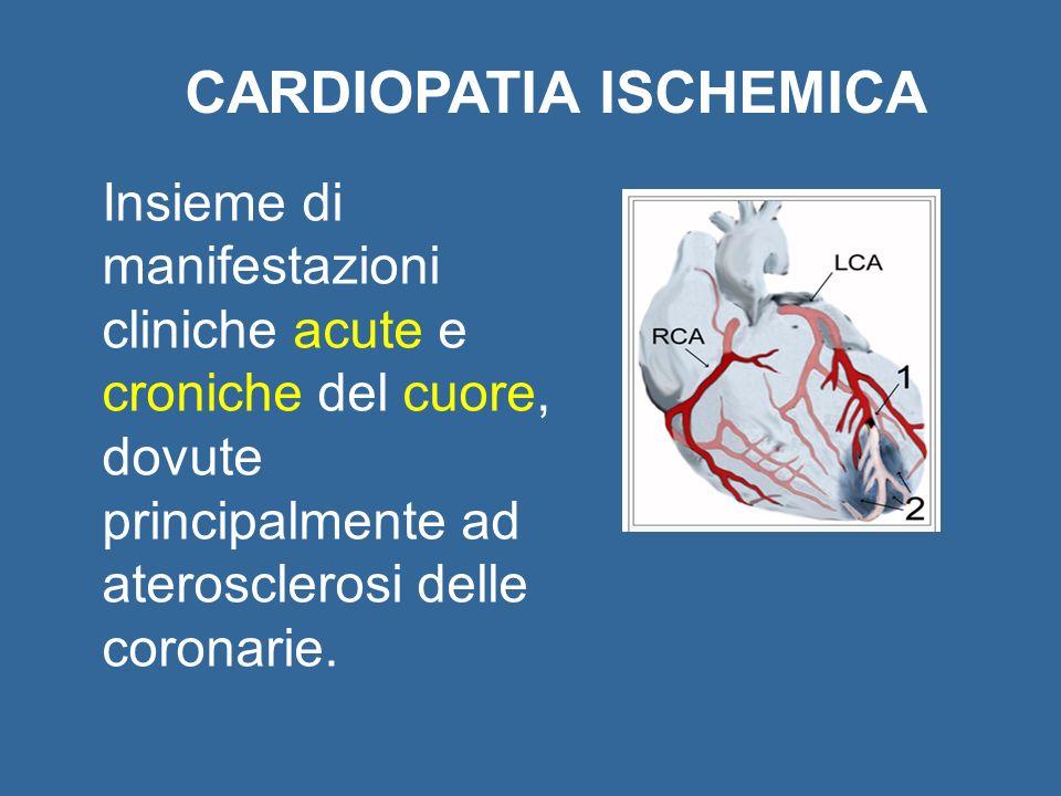 CARDIOPATIA ISCHEMICA Insieme di manifestazioni cliniche acute e croniche del cuore, dovute principalmente ad aterosclerosi delle coronarie.