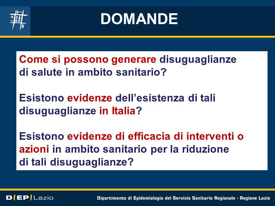 DOMANDE Come si possono generare disuguaglianze di salute in ambito sanitario? Esistono evidenze dellesistenza di tali disuguaglianze in Italia? Esist