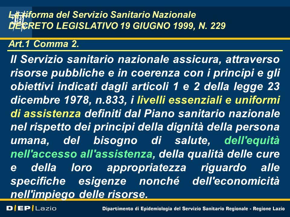 La riforma del Servizio Sanitario Nazionale DECRETO LEGISLATIVO 19 GIUGNO 1999, N. 229 Art.1 Comma 2.