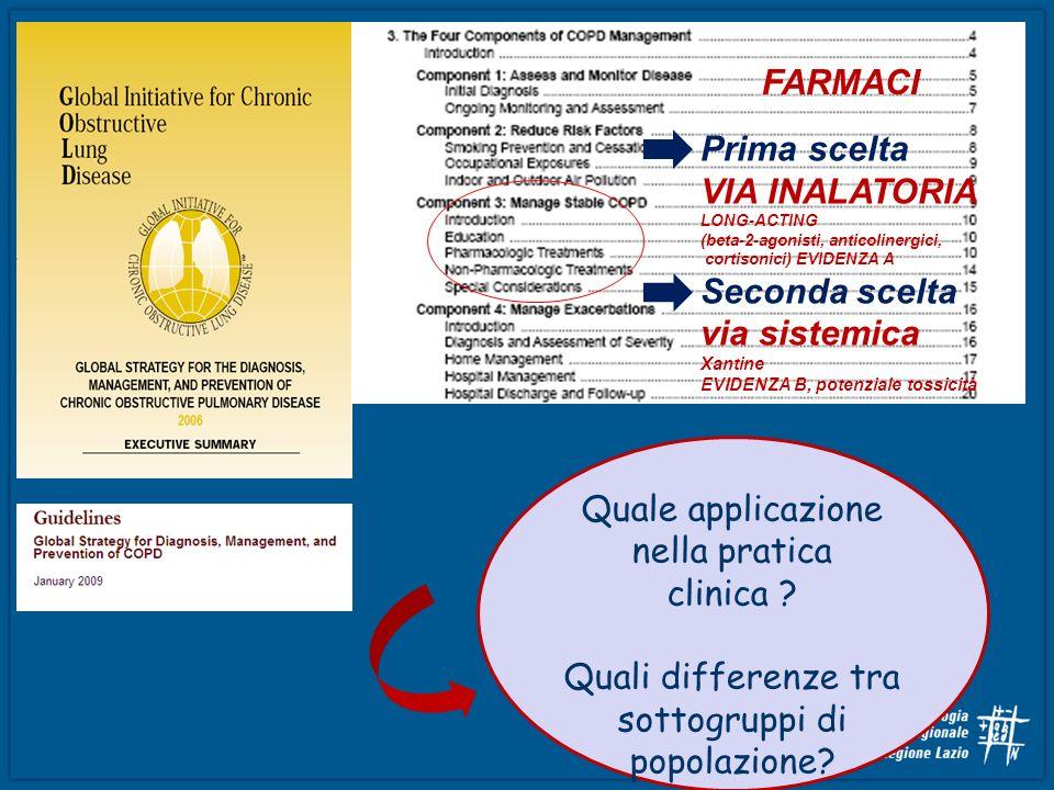 Quale applicazione nella pratica clinica ? Quali differenze tra sottogruppi di popolazione? FARMACI Prima scelta VIA INALATORIA LONG-ACTING (beta-2-ag