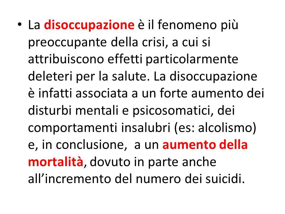 La disoccupazione è il fenomeno più preoccupante della crisi, a cui si attribuiscono effetti particolarmente deleteri per la salute. La disoccupazione