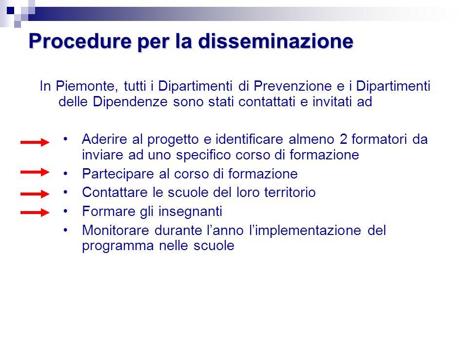 Procedure per la disseminazione In Piemonte, tutti i Dipartimenti di Prevenzione e i Dipartimenti delle Dipendenze sono stati contattati e invitati ad
