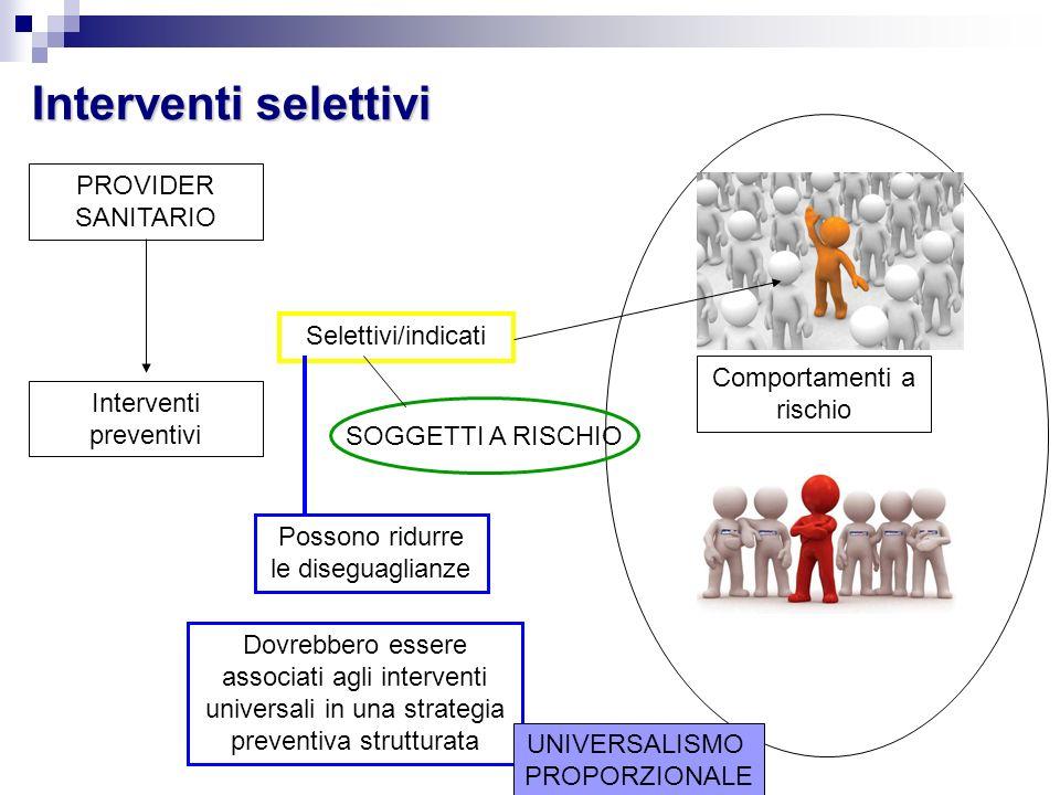 Interventi selettivi Comportamenti a rischio PROVIDER SANITARIO Interventi preventivi Selettivi/indicati SOGGETTI A RISCHIO Possono ridurre le disegua