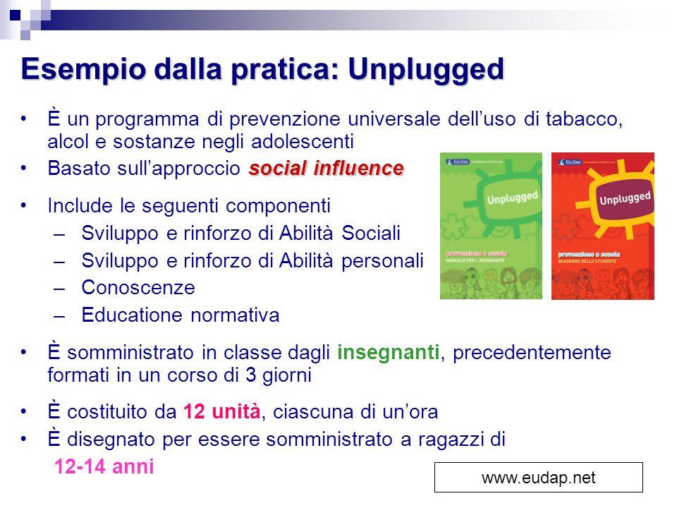 Esempio dalla pratica: Unplugged È un programma di prevenzione universale delluso di tabacco, alcol e sostanze negli adolescenti social influenceBasat
