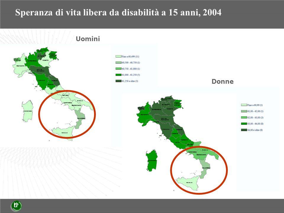 Speranza di vita libera da disabilità a 15 anni, 2004 Uomini Donne