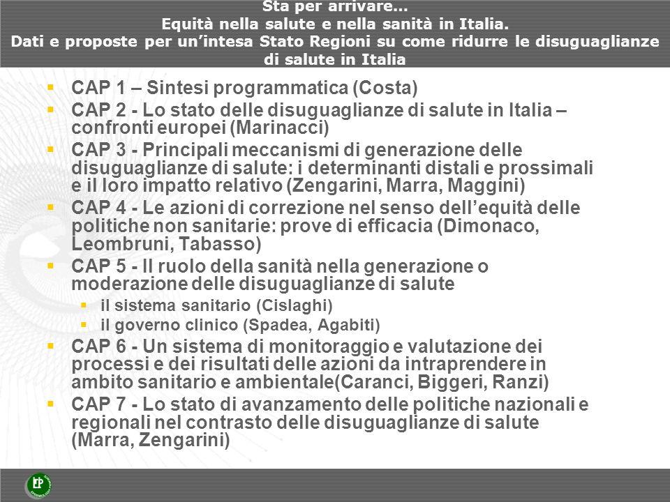 Sta per arrivare… Equità nella salute e nella sanità in Italia.