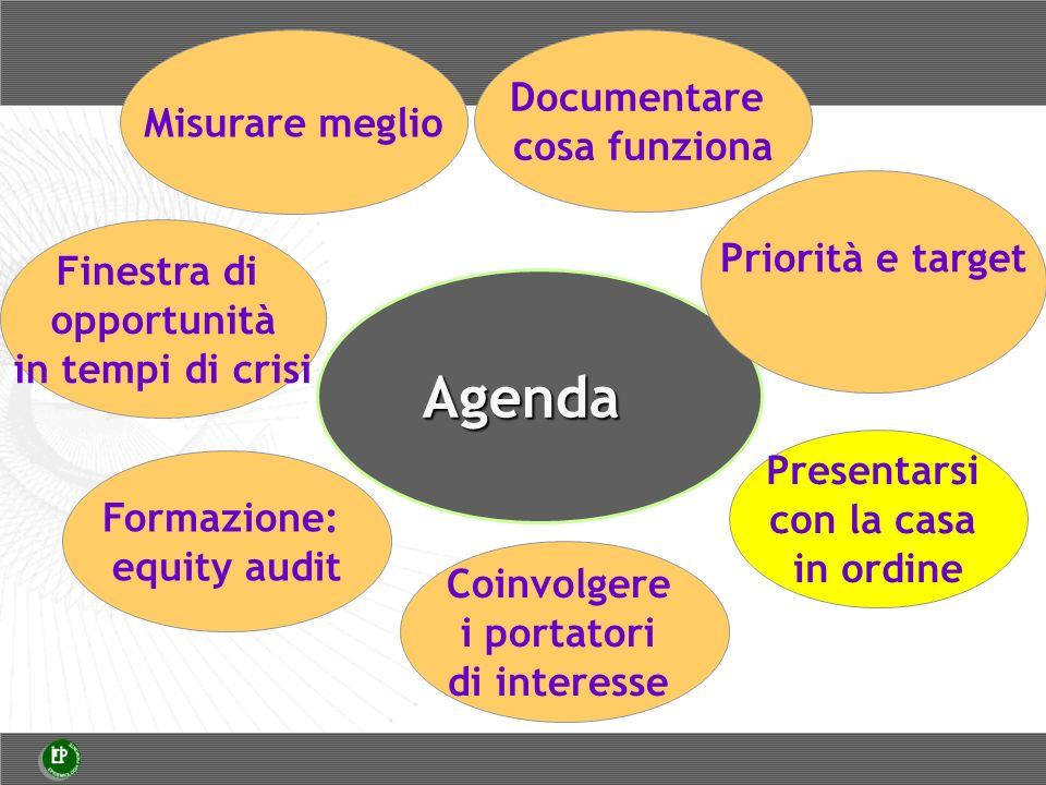 Agenda Misurare meglio Finestra di opportunità in tempi di crisi Documentare cosa funziona Priorità e target Presentarsi con la casa in ordine Formazione: equity audit Coinvolgere i portatori di interesse