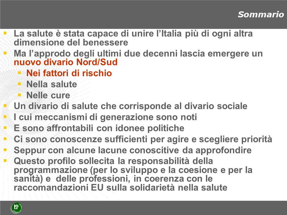 Marinacci et al, 2012 Mortalità in Italia 2000-2007 per titolo di studio (RR aggiustati per età, area geografica), 25-74 anni Uomini RR Laurea 1 Maturità 1,16 Media 1,46 Elementare o meno 1,79 linear trend p=0.01 Donne Laurea 1 Maturità1,12 Media 1,22 Elementare o meno1,63 linear trend p=0.06 Le diseguaglianze nella salute a sfavore del Mezzogiorno sono prevalentemente spiegate dalla particolare concentrazione di povertà nel Sud del paese