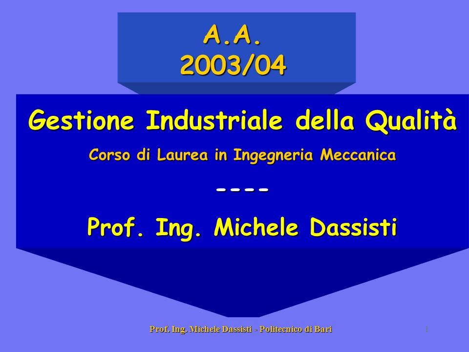 Prof. Ing. Michele Dassisti - Politecnico di Bari1 Gestione Industriale della Qualità Corso di Laurea in Ingegneria Meccanica ---- Prof. Ing. Michele